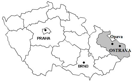 Orientační mapka s vyznačením měst Opava a Krnov
